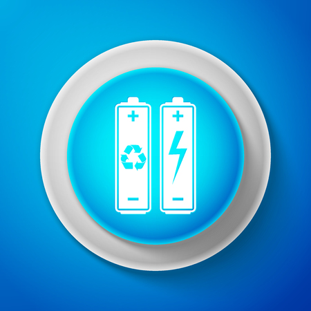 White Battery with recycle symbol - renewable energy concept icon isolated on blue background.