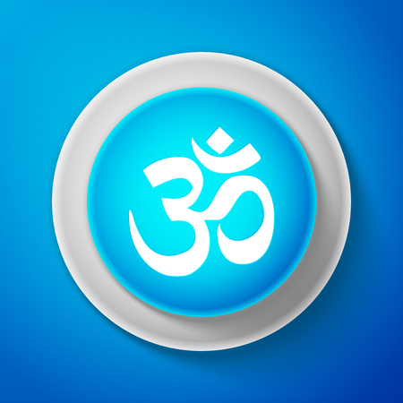 White Om or Aum Indian sacred sound icon isolated on blue background. Symbol of Buddhism and Hinduism religions. Original mantra. The symbol of the triad of Brahma, Vishnu and Shiva. Vector