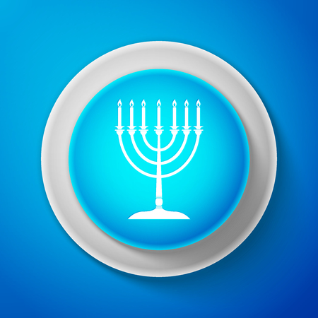 White Hanukkah menorah icon isolated on blue background. Religion icon. Hanukkah traditional symbol. Holiday religion, jewish festival of Lights. Circle blue button. Vector Illustration