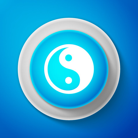White Yin Yang symbol of harmony and balance icon isolated on blue background. Circle blue button with white line. Vector Illustration