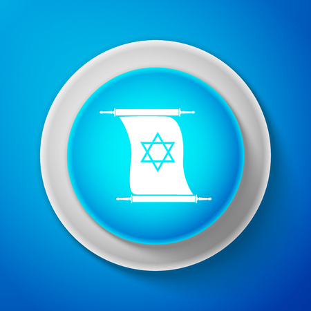 White Torah scroll icon isolated on blue background. Jewish Torah in expanded form. Torah Book sign. Star of David symbol. Simple old parchment scroll. Circle blue button. Vector Illustration