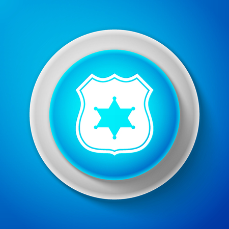 White Police badge icon isolated on blue background. Circle blue button with white line. Vector Illustration