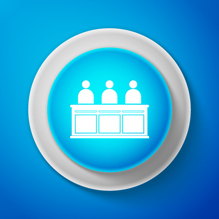 White Jurors icon isolated on blue background. Circle blue button with white line. Vector Illustration
