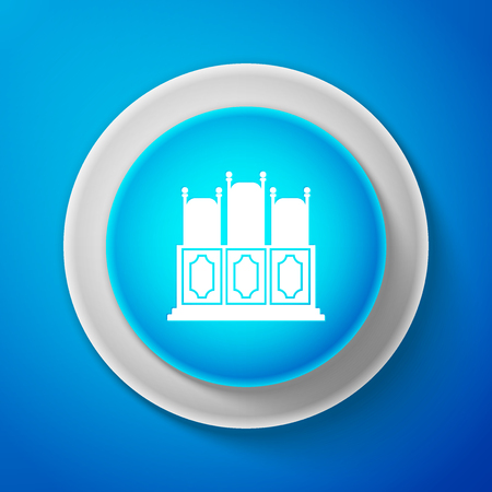 White Courts room with table icon isolated on blue background. Chairs icon. Circle blue button with white line. Vector Illustration Illusztráció