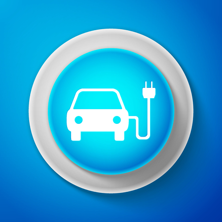 White Electric car and electrical cable plug charging icon isolated on blue background. Electric car charging sign. Renewable eco technologies. Circle blue button with white line. Vector Illustration