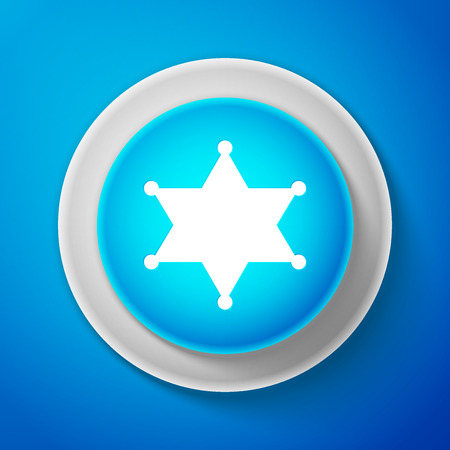White Hexagram sheriff icon isolated on blue background. Circle blue button with white line. Vector Illustration