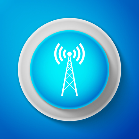 White Antenna icon isolated on blue background. Radio antenna wireless. Technology and network signal radio antenna. Circle blue button with white line. Vector Illustration