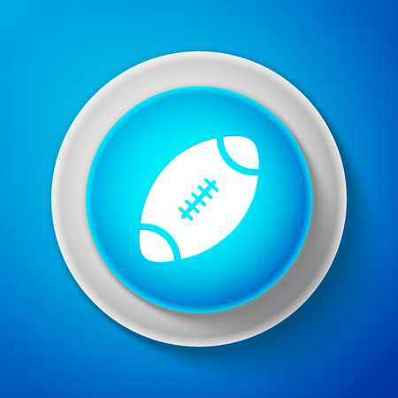 White American Football ball icon isolated on blue background. Circle blue button with white line. Vector Illustration Illustration