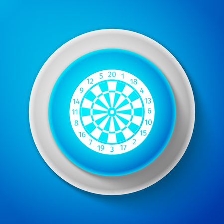 White Classic darts board with twenty black and white sectors icon isolated on blue background. Dart board sign. Dartboard sign. Game concept. Circle blue button with white line. Vector Illustration