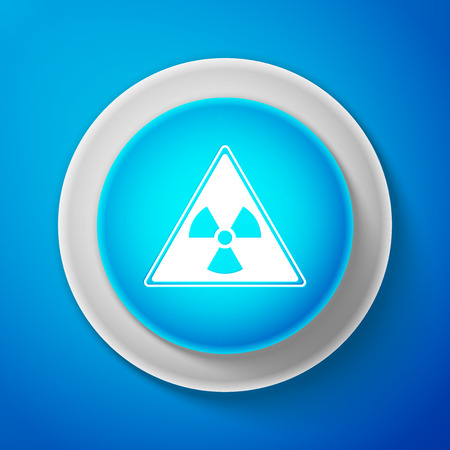 White Triangle sign with radiation symbol icon isolated on blue background. Circle blue button with white line. Vector Illustration