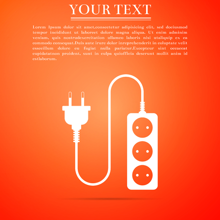 Electric extension cord icon isolated on orange background. Power plug socket. Flat design. Vector Illustration Illustration