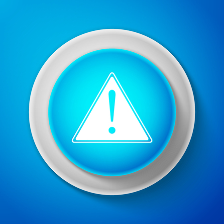 White Exclamation mark in triangle icon isolated on blue background. Hazard warning sign, careful, attention, danger warning important sign. Circle blue button with white line. Vector Illustration Illustration