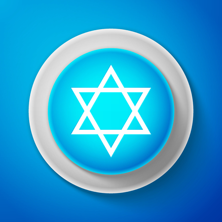 White Star of David icon isolated on blue background. Jewish religion symbol. Circle blue button with white line. Vector Illustration Illustration