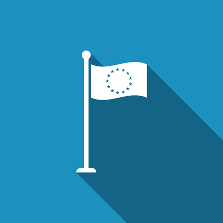 Flag of European Union icon isolated with long shadow. EU circle symbol. Waving EU flag on a metallic pole. Flat design. Vector Illustration Illusztráció