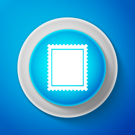 White Postal stamp icon isolated on blue background. Circle blue button with white line. Vector Illustration