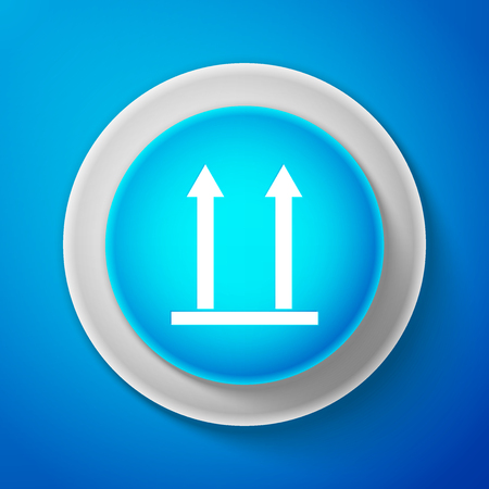 White This side up icon isolated on blue background. Two arrows indicating top side of packaging. Cargo handled so these arrows always point up. Circle blue button with white line. Vector Illustration