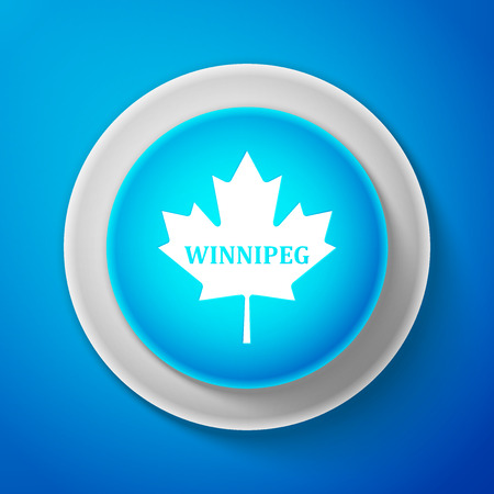 White Canadian maple leaf with city name Winnipeg icon isolated on blue background. Circle blue button with white line. Vector Illustration