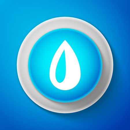 White drop icon isolated on blue background. Circle blue button with white line vector Illustration.