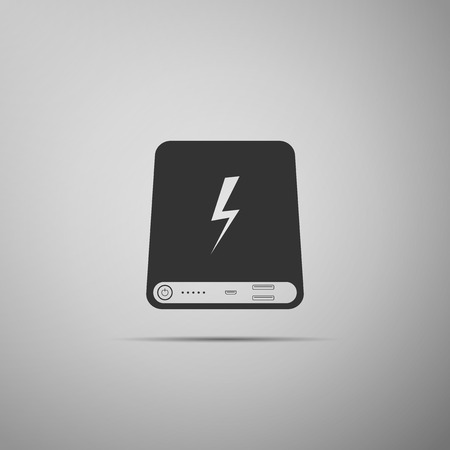 Power bank icon isolated on grey background. Portable charging device. Flat design. Vector Illustration