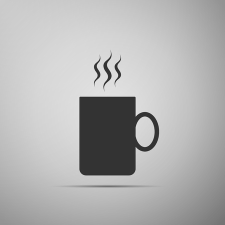 Coffee cup flat icon isolated on grey background. Tea cup. Hot drink coffee. Flat design. Vector Illustration 일러스트