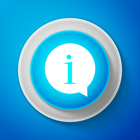 White Information icon isolated on blue background. Circle blue button with white line. Vector Illustration