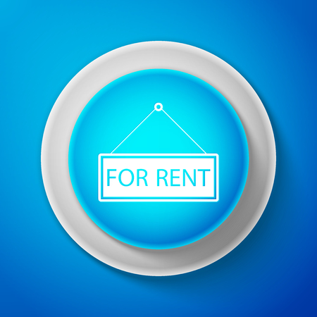 White Hanging sign with text For rent icon isolated on blue background. Circle blue button with white line. Vector Illustration