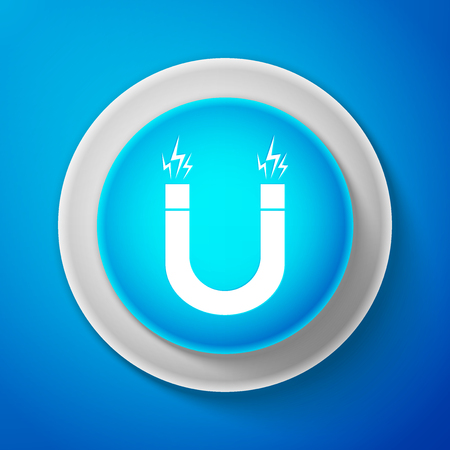 White Magnet icon isolated on blue background. Horseshoe magnet, magnetism, magnetize, attraction. Circle blue button with white line. Vector Illustration Vectores