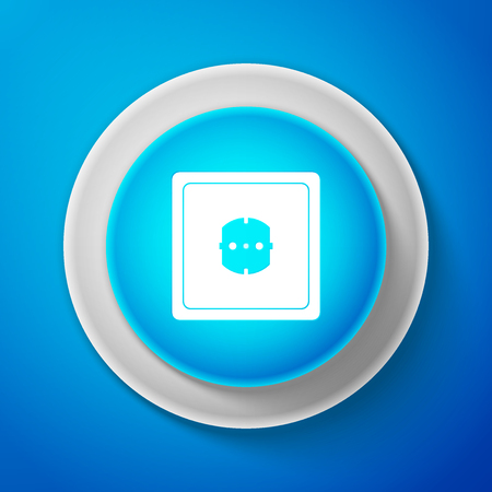 White Electrical outlet icon isolated on blue background. Power socket. Rosette symbol. Circle blue button with white line. Vector Illustration