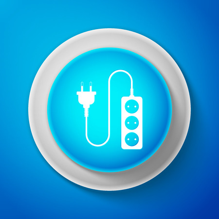 White Electric extension cord icon isolated on blue background. Power plug socket. Circle blue button with white line. Vector Illustration