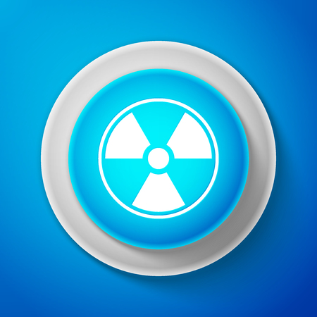 White Radioactive icon isolated on blue background. Radioactive toxic symbol. Radiation Hazard sign. Circle blue button with white line. Vector Illustration