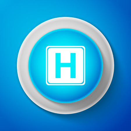 White Hospital sign isolated on blue background. Circle blue button with white line. Vector Illustration Illustration