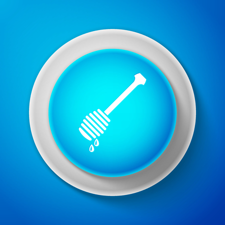 White Honey dipper stick with dripping honey icon isolated on blue background. Honey ladle. Circle blue button with white line. Vector Illustration Illustration