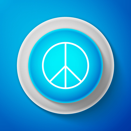 White Peace sign isolated on blue background. Hippie symbol of peace. Circle blue button with white line. Vector Illustration