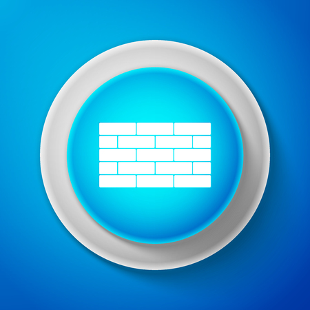 White Bricks icon isolated on blue background. Circle blue button with white line. Vector Illustration