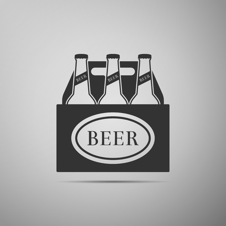 Pack of beer bottles icon isolated on grey background. Case crate beer box sign. Flat design. Vector Illustration Stock Illustratie