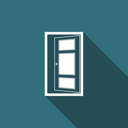 Open door icon isolated with long shadow. Flat design. Vector Illustration
