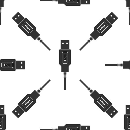 USB cable cord icon seamless pattern on white background. Connector and socket for PC and mobile devices.