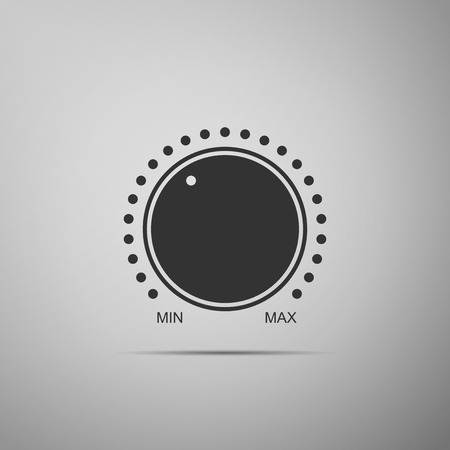 Dial knob level technology settings icon isolated on grey background. Volume button, sound control, music knob with number scale, analog regulator. Flat design. Vector Illustration