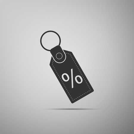 Discount percent tag icon isolated on grey background. Shopping tag sign. Special offer sign. Discount coupons symbol. Flat design. Vector Illustration
