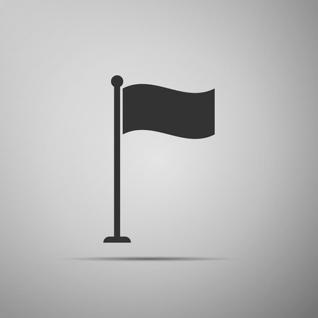 Flag icon isolated on grey background. Location marker symbol. Flat design. Vector Illustration