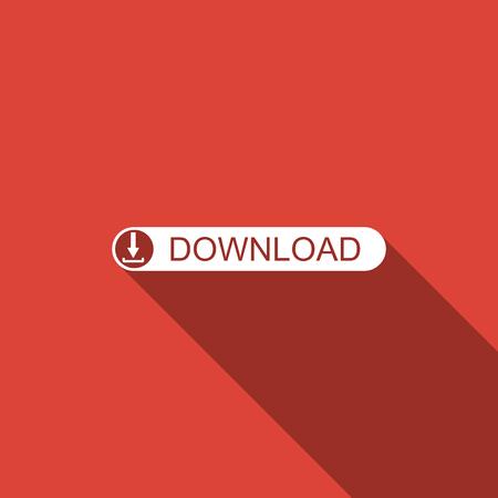 Downloadknop met pijlpictogram geïsoleerd met lange schaduw. Upload knop.