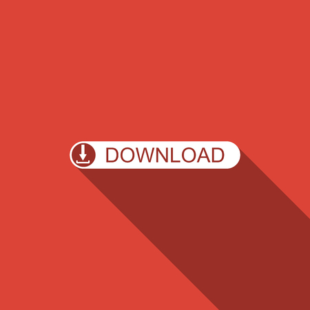 Download button with arrow icon isolated with long shadow. Upload button. Illustration