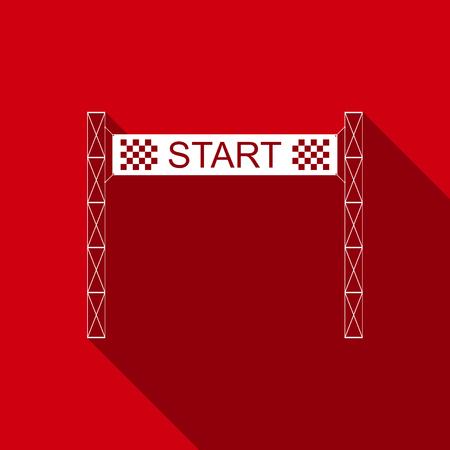 Startlinie Symbol mit langem Schatten isoliert. Startsymbol. Flaches Design. Vektorillustration Vektorgrafik