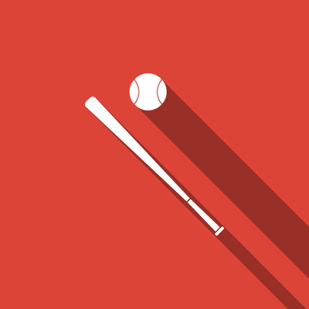 Baseball ball and bat icon isolated with long shadow. Flat design. Vector Illustration Standard-Bild - 114832321