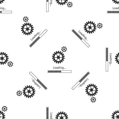 Nahtloses Muster des Lade- und Zahnradsymbols auf weißem Hintergrund. Fortschrittsbalkensymbol. Aktualisierung der Systemsoftware. Prozesssymbol wird geladen. Flaches Design. Vektor-Illustration