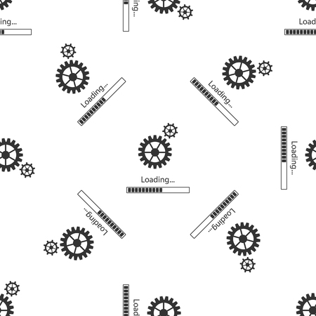 Loading and gear icon seamless pattern on white background. Progress bar icon. System software update. Loading process symbol. Flat design. Vector Illustration