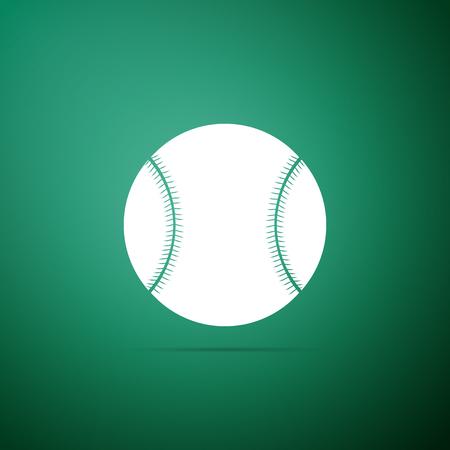 Baseball ball icon isolated on green background. Flat design. Vector Illustration