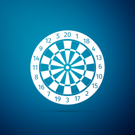 Classic darts board with twenty black and white sectors icon isolated on blue background. Dart board sign. Dartboard sign. Game concept. Flat design. Vector Illustration Vettoriali