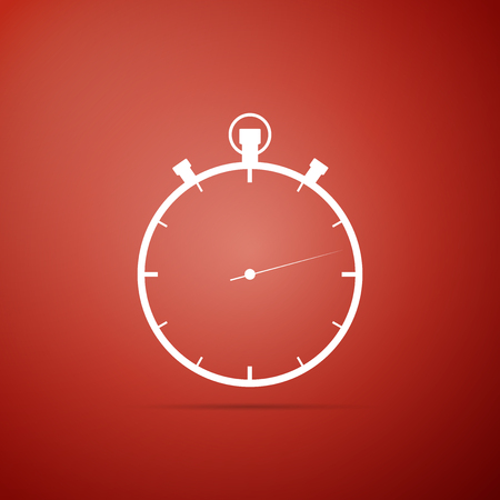 Stopwatch icon isolated on red background. Time timer sign. Flat design. Vector Illustration