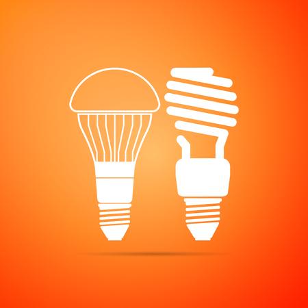Economical LED illuminated lightbulb and fluorescent light bulb icon isolated on orange background. Save energy lamp. Flat design. Vector Illustration 일러스트